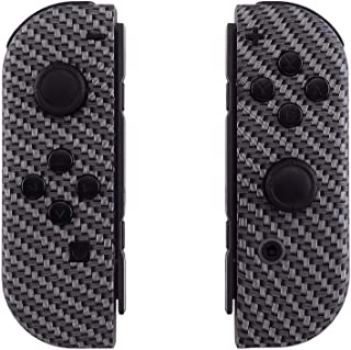 eXtremeRate Soft Touch Grip Black Silver Carbon Fiber Joycon Handheld Controller Housing with Full Set Buttons, DIY Replacement Shell Case for Nintendo Switch Joy-Con – Console Shell NOT Included