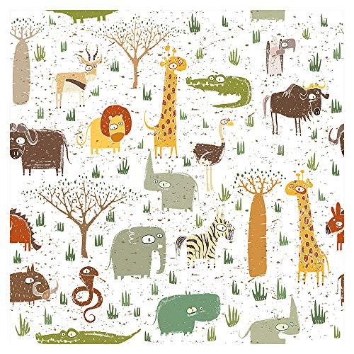 murando Tapete selbstklebend 10m Wandtattoo dekorative Möbelfolie Dekorfolie Fotofolie Panel Wandaufkleber Wandposter Wandsticker - Kinderzimmer Tiere Afrikas für Kinder e-B-0027-j-a
