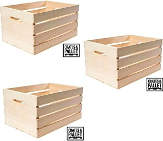 Crates and Pallet Large Wood Crate - Pack of (3)