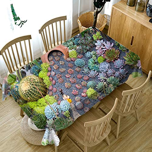 Rubyia - Tovaglia quadrata, lavabile, motivo piante grasse e grasse in poliestere, 85 x 85 cm, verde