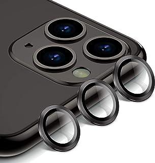 BANNIO Protector Cámara para iPhone 11 Pro/iPhone 11 Pro MAX,3 en 1 HD Film Vidrio Cristal Templado Cámara Trasera Lente Borde de Metálico para iPhone 11 Pro/iPhone 11 Pro MAX - Negro