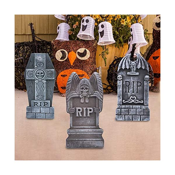 JOYIN 43 cm 5 Decorazioni di Halloween RIP in Pietre Tombali Cimitero in Schiuma e 12 Puntali in Metallo Bonus per Decorazioni in Cortile 4 spesavip