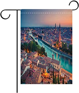 BEICICI Double Sided Premium Garden Flag European Verona Italy During Summer Sunset Blue Hour Adige River Medieval Historcal Aqua Coral Green Best for Party Yard and Home Outdoor Decor