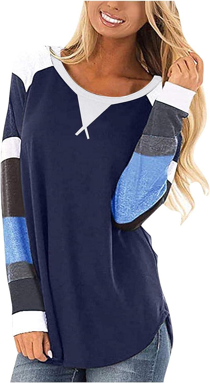 POLLYANNA KEONG Women Long Sleeve Tshirt,Women Round Neck T Shirts Long Sleeve Causal Fall Colorblock Tops Tunic Blouse