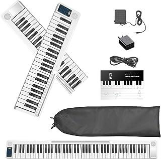 Vogvigo 88 Tasti Pianoforte Digitale Pieghevole,Tastiera di Pianoforte con Bluetooth,MIDI,Pedale Sostenuto,App con esercit...