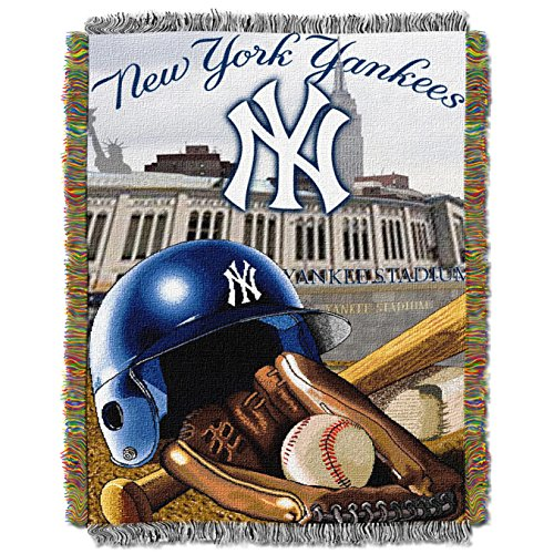 """MLB New York Yankees """"Home Field Advantage"""" Woven Tapestry Throw Blanket, 48"""" x 60"""""""