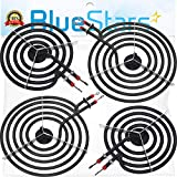 Ultra Durable MP22YA Electric Range Burner Element Unit Set - 2 pcs MP15YA 6' & 2 pcs MP21YA 8' Replacement Part by Blue Stars - Exact Fit For Whirlpool Kenmore Jenn-Air Maytag Electric Range Stove
