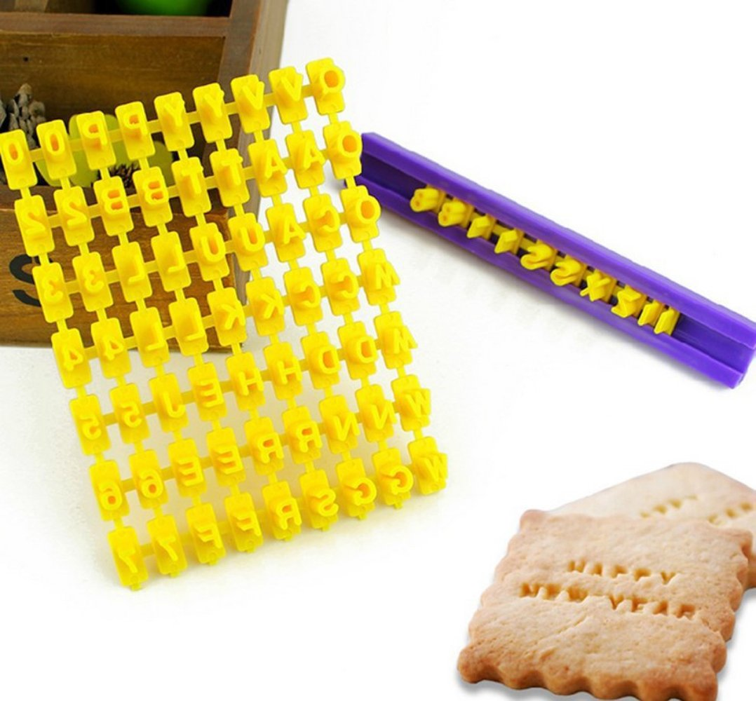 Alphabet Number Biscuit Embosser Fondant