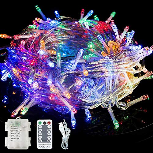 Fairy Lights Battery Powered/USB Powered, 13M/42Ft 120 LED Waterproof String Lights Mains Powered with Remote Control & Timer for Bedroom Garden Outdoor & Indoor Decoration, Multi-colored