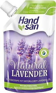 Handsan flytande tvål naturlig lavender, 300 ml, tvål för påfyllning, med naturlig lavendelolja, flytande tvål för handtvä...