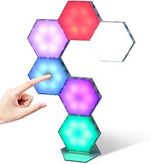 Kangtaixin Hexagon Led Panel, 6 Stück Sechseckige RGB-Leuchten mit Touch Steuerung USB Ladung, Sechseck Modulare Wandleuch...