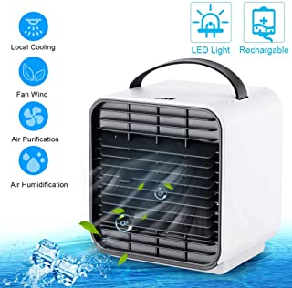 JYSW Air Conditioner Fan, Personal Portable Mini Air Cooler Fan USB Circulator Purifier Humidifier Personal Air Space Cooler Fan with 3 Speeds and Night Light, for Home Room Office Outdoors