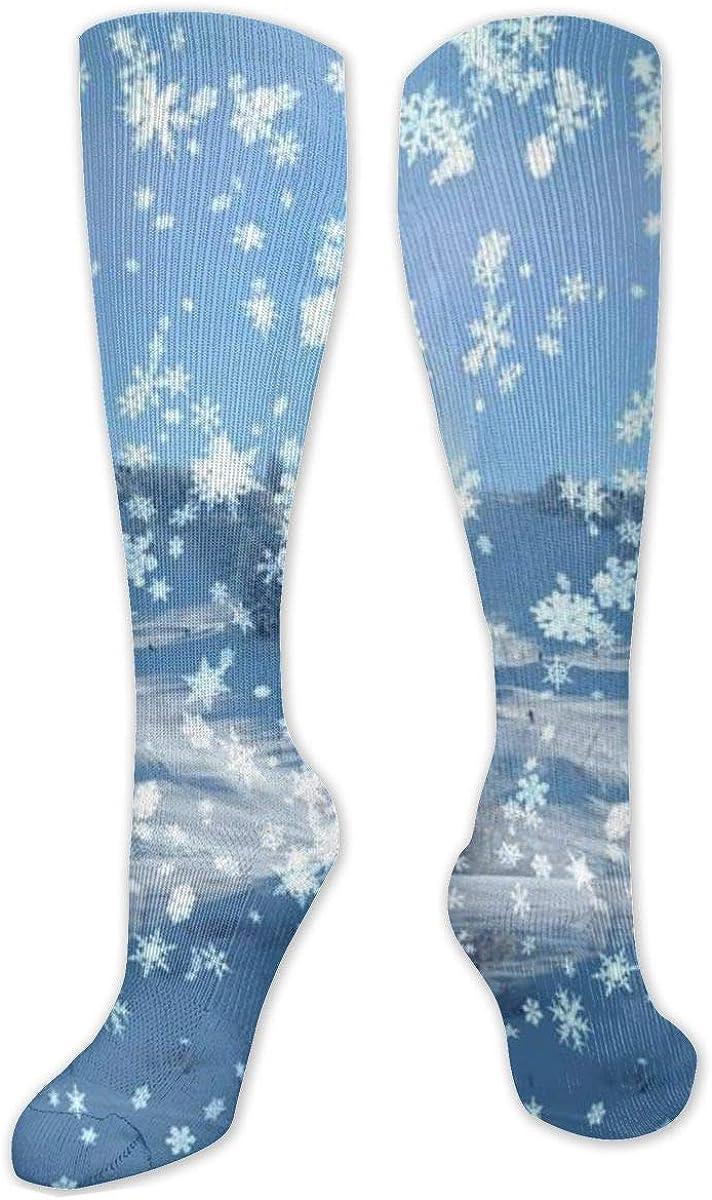Christmas Snowflake Landscape Knee High Socks Leg Warmer Dresses Long Boot Stockings For Womens Cosplay Daily Wear