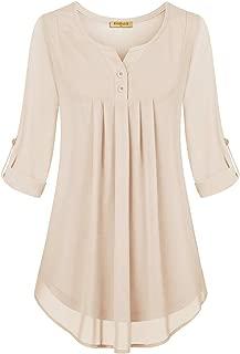 Baikea Women's Notch Neck 3/4 Sleeve Button Trim Pleated Tunics Chiffon Blouses