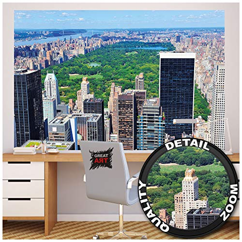 GREAT ART New York Skyline Centraal Park - Muurschildering Decoratie Amerika Manhattan Panorama Landschap USA grote stad foto wallpaper fotobehang wandbehang poster wanddecoratie