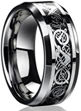 ILJILU New Silver Celtic Dragon Titanium Stainless Steel Men's Wedding Band Rings (Size 12)
