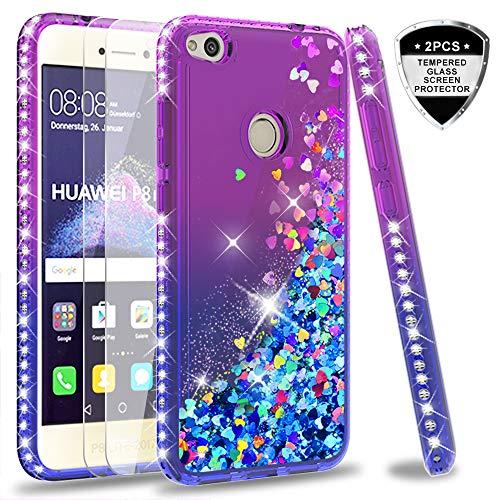 LeYi Hülle Huawei P8 Lite 2017 / Honor 8 Lite Glitzer Handyhülle mit Panzerglas Schutzfolie(2 Stück),Cover Diamond Schutzhülle für Case Huawei P8 Lite 2017 Handy Hüllen ZX Gradient Purple Blue