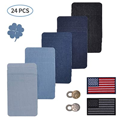 """Besego Iron on Denim Patches for Jeans (4.9"""" x ..."""