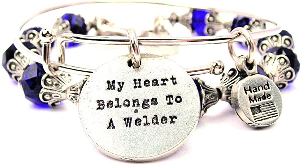 ChubbyChicoCharms My Heart Belongs to A Welder Collection Crystal Bangle Set in Sapphire Blue