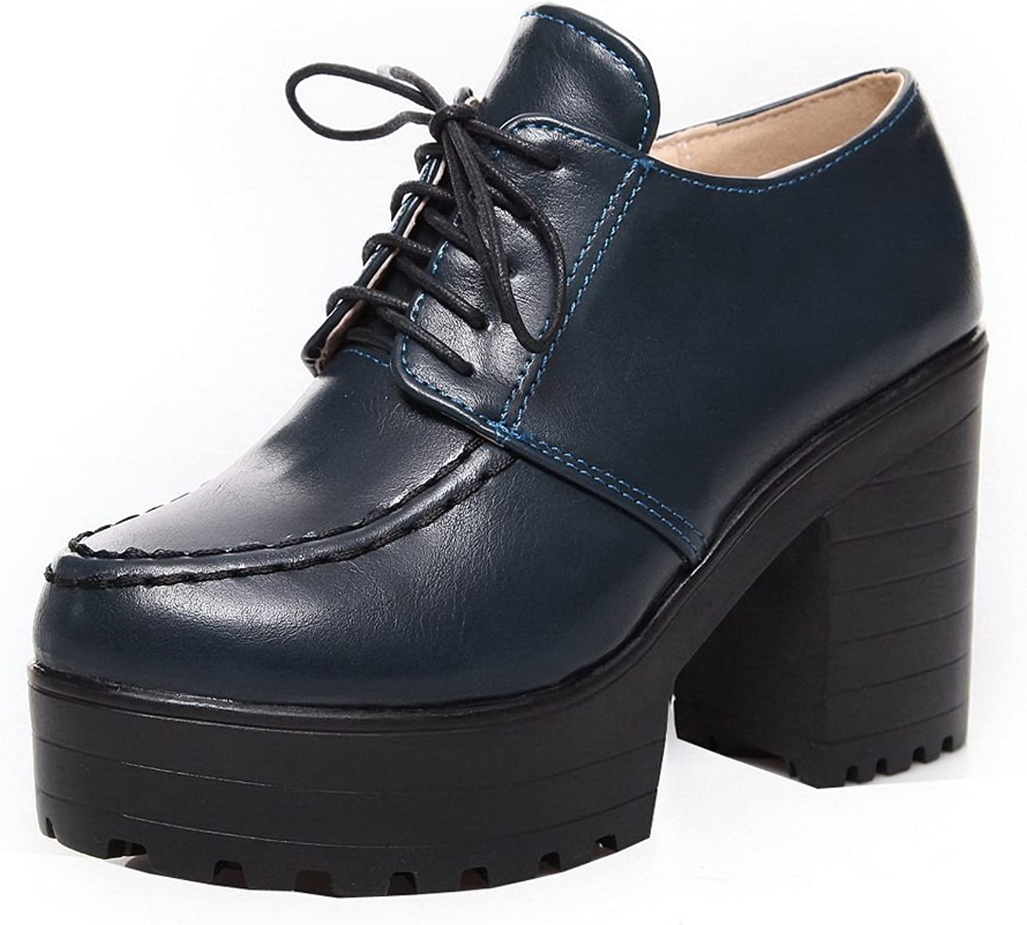 WeiPoot Women's PU Lace-up Round Closed Toe High-Heels Solid Pumps-shoes