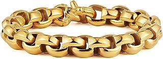 HZMAN 12mm Wide Square Rolo Stainless Steel Chain Bracelet Round Box Bracelet Men Women Jewelry 8.5 In