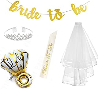 P+Co Chic Bridal Shower Bachelorette Party 5pc Set Party Decoration for The Bride - 1 Bride to be Banner + 1 Sash + 1 Foil Diamond Ring Balloon + 1 Crown + 1 Veil