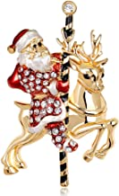 CUIGU Christmas Brooch Pins Ring Bell Rhinestone Jewelry Fashion Xmas Gift Decoration - Santa Claus No.AL043-A