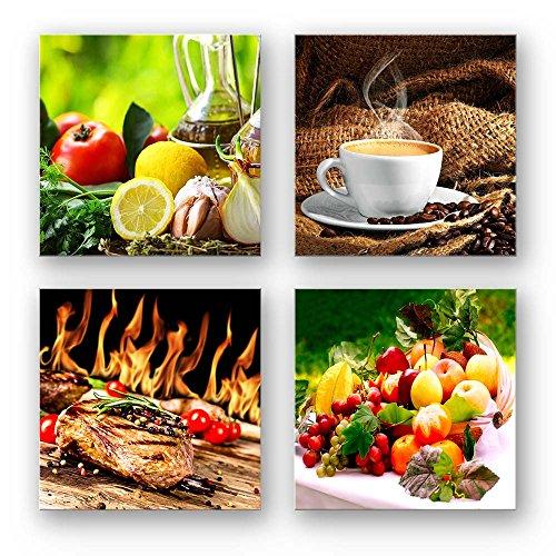 Mehrteiliges Küchen Bilder Set C, 4-teiliges Bilder-Set je 29x29cm. Quadratische Form ist perfekt zum dekorieren. Tolle Kunstdrucke für Küche, Flur, Esszimmer, Deko Bild, Kaffee Obst Wein