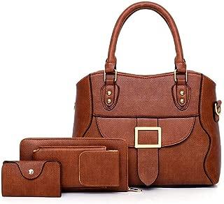 Female Wild Soft Leather Bag Shoulder Messenger 3 Pcs Bag Satchels Top Handle Shoulder Crossbody Bags (Color : Brown, Size : L)
