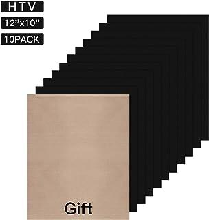 "JANDJPACKAGING Black Heat Transfer Vinyl for T- Shirts- 10 Sheets,10""x12"" Black HTV Iron On Vinyl for Cricut and Silhouette Cameo Including Teflon Sheet"