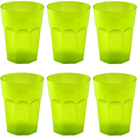 ENGELLAND 5X Kunststoffbecher Trinkbecher Party-Becher Plastik Trink-Gl/äser Mehrweg Coktailbecher Bunt transparent 0,4l