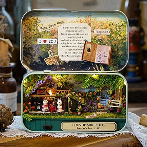 Caiqinlen Casa de muñecas, Caja de muñecas de 5.63 * 6.46 * 1.02 Pulgadas, decoración del hogar para Amigos de la Familia(Pastoral Notes)