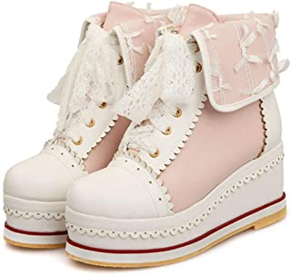 DecoStain Women's Mixed Color Round Toe Platform Wedge Sneakers Ladies Cute Comfortable Shoes