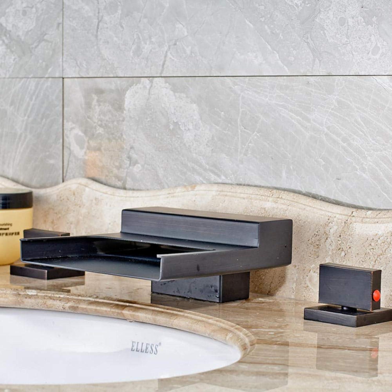Deck montiert ndern Badezimmer Wasserfall Wasserhahn Doppelgriff 3 Lcher Messing Waschbecken Mischbatterien