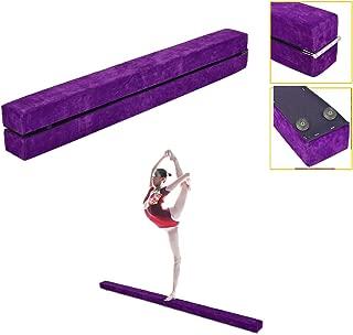 YOSHIKO Gymnasts Balance Beam Purple - Gymnastics Equipment for Kids & Home Use - Wooden Base, Foam Padding, Non-Slip Surface