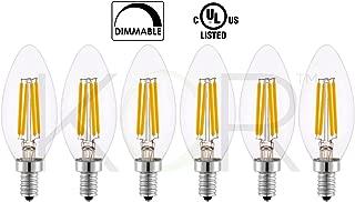 (Pack of 6) 6 Watt LED Edison Filament (60 Watt Eqivalent) Dimmable LED Candelabra Chandelier Light Bulb - CTC B11 Straight Tip - Small Base (E12) - 2700K (Warm White Glow) - 120V
