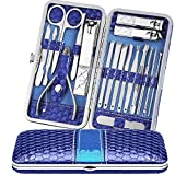 Blackhead Remover Comedone Extractor Tweezers Manicure Nail Clippers Kit, for Nial Cutter Acne Pimple Blemish Removal Professional Stainless Steel Travel Tools Set with Leather Case by Teamkio