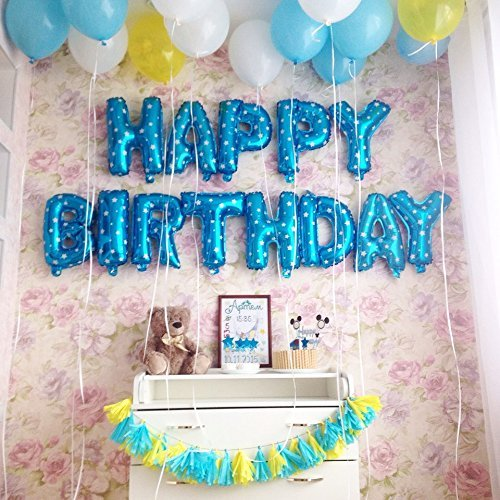 Rozi Decoration Happy Birthday Foil Toy Balloon Blue Pack Of 13 Letters