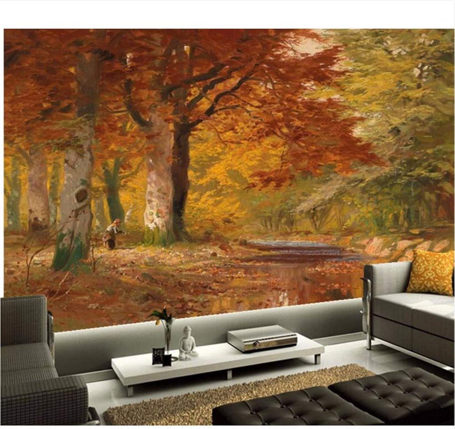 Weaeo Murales 3D Personalizados Otoo Bosque Pintura Al óleo Hotel Restaurante Bar Salón Sofá Tv Parojo Dormitorio Papel Pintado-200X140Cm