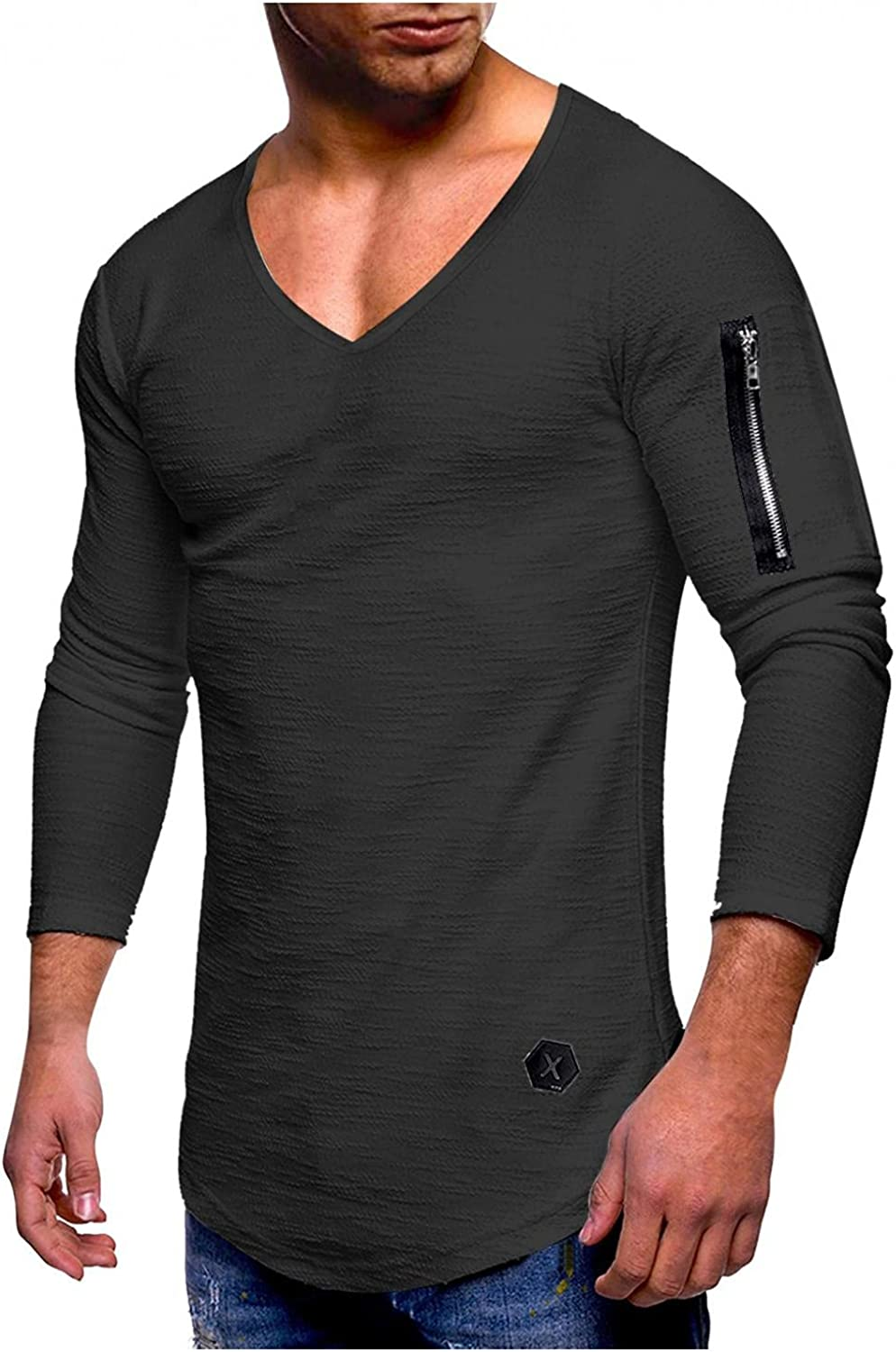 KEEYO Mens V-Neck Muscle T-Shirt Long Sleeve Athletic Bodybuilding Gym Tee Fashion Workout Hipster Shirts Casual Fall