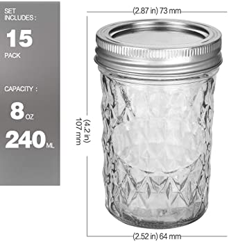 Mason Jars 8 OZ, VERONES 8 OZ Canning Jars Jelly Jars With Regular Lids, Ideal for Jam, Honey, Wedding Favors, Shower...