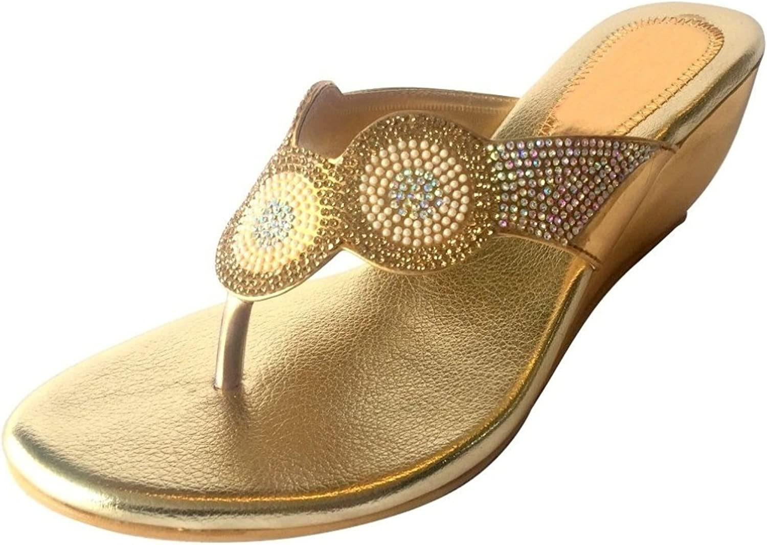 Step n Style Women shoes Rhinestone Crystal Bridal Sandals Slip On Wedge Indian Ethnic shoes gold