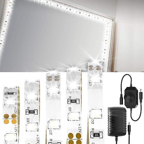 Ruban à LED de Miroir de Courtoisie LONGKO Bande LED de Miroir de Maquillage 4M 240LED 6000K Avec Régulateur de Luminosité et Prise Française pour DIY le miroir de Courtoisie et Table de Chevet