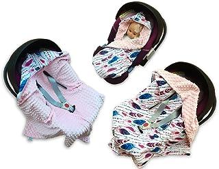 babees© einschlagdecke Minky Baby Carcasa Auto asiento techo [plumas + Color Rosa]