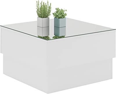 Mesa De Centro Parati Branco Quadrada Com Espelho Artely