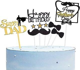 9 Pcs Happy Birthday / Happy Father's Day Super Dad Cake Topper for Father's Birthday / Father's Day, Best Dad Ever Cake P...