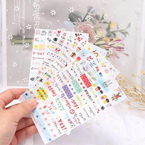 BLOUR 6Sheets / Pack Kawaii Niedliches Zeichenpapier Tagebuch Dekoration Aufkleber Mode PVC Transparente Buchung Klassisches Baby Kinderspielzeug
