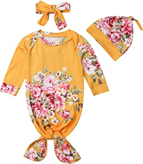 Baby Boys Girls Floral Knotted Sleeper with Headband Hat Coming Home Outfit   518d85cda