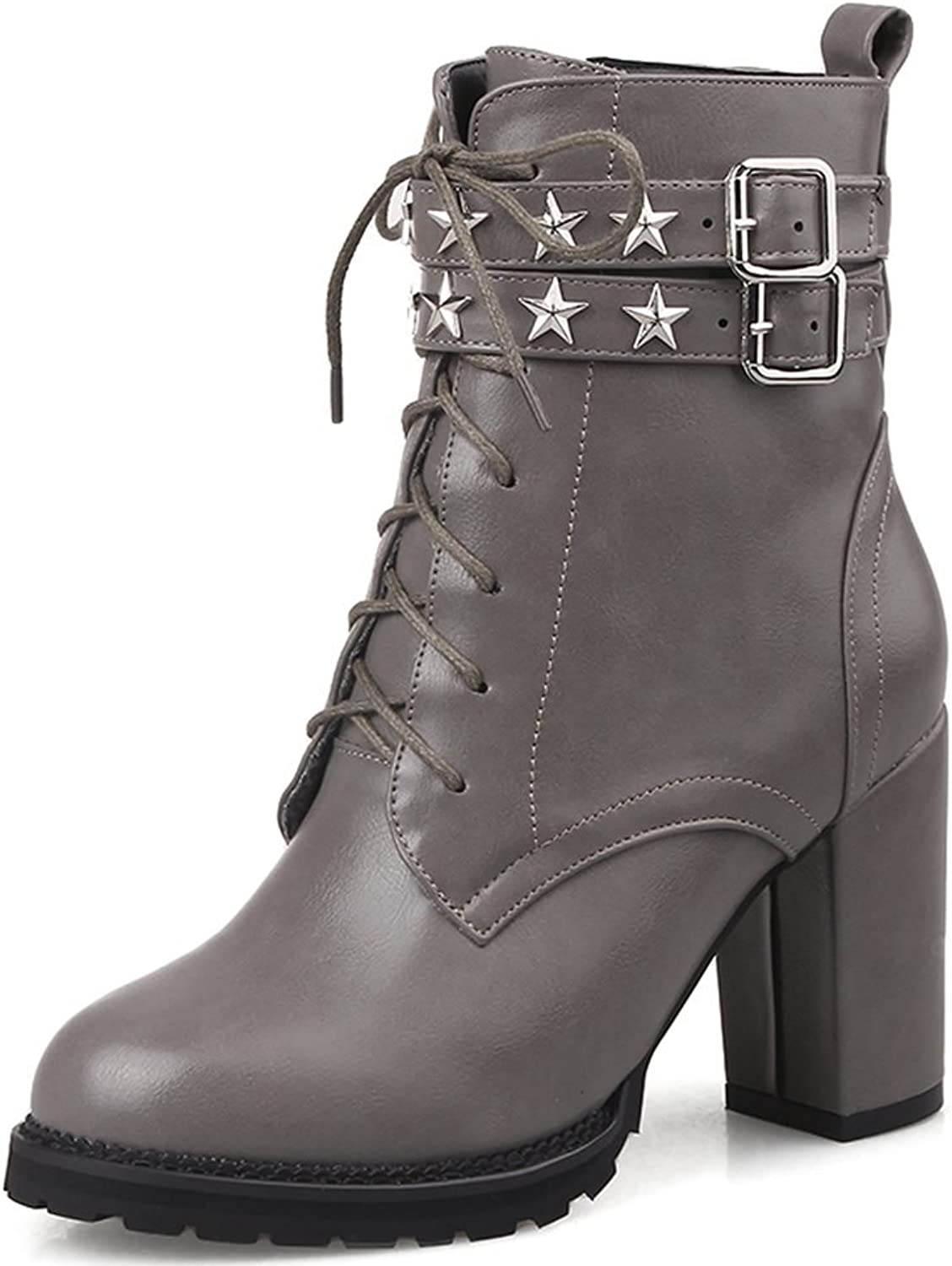 SaraIris Buckle Star Decoration Cross-Tied Zipper Ankle Boots for Women