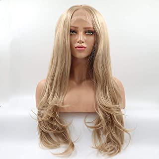 Lucyhairwig Honey Blonde Synthetic Lace Front Wig Middle Part High Temperature Heat Resistant Fiber Hair Wigs For Women 24Inch
